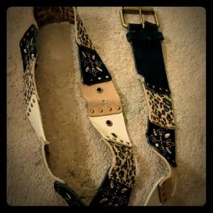 Vintage Style Leather Mashup Belt